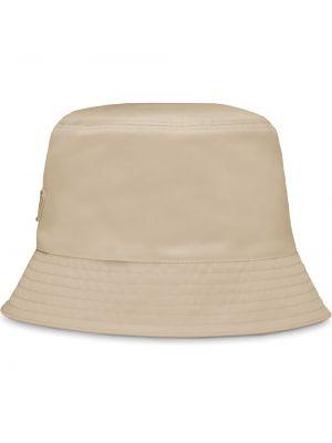 Beżowy kapelusz bawełniany pikowany Prada