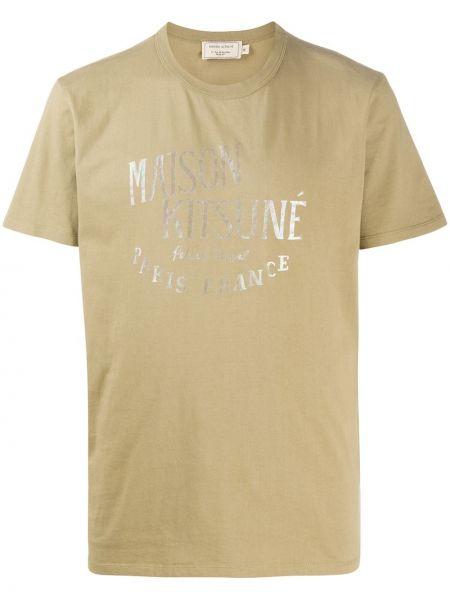 Koszula krótkie z krótkim rękawem prosto z nadrukiem Maison Kitsune