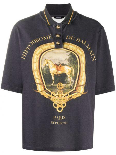Синяя рубашка с короткими рукавами с воротником Balmain