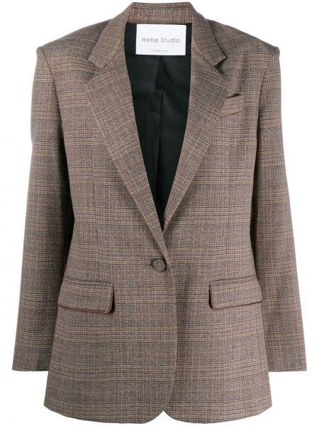 Однобортный коричневый удлиненный пиджак в клетку Hebe Studio