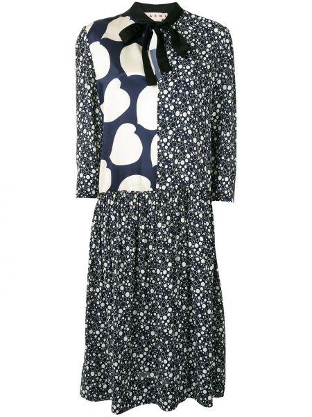 Платье миди с принтом - синее Marni