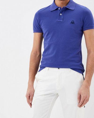 Синее поло с коротким рукавом United Colors Of Benetton