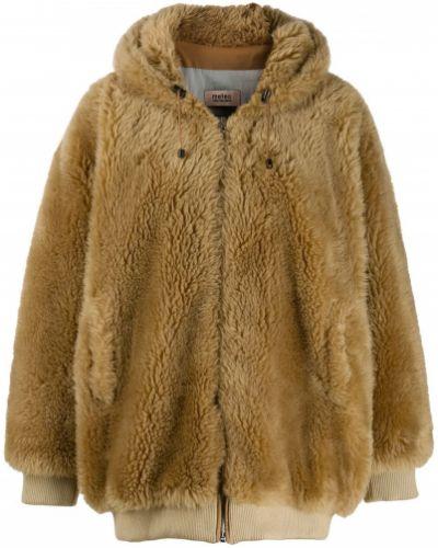Шерстяное бежевое длинное пальто Yves Salomon Meteo