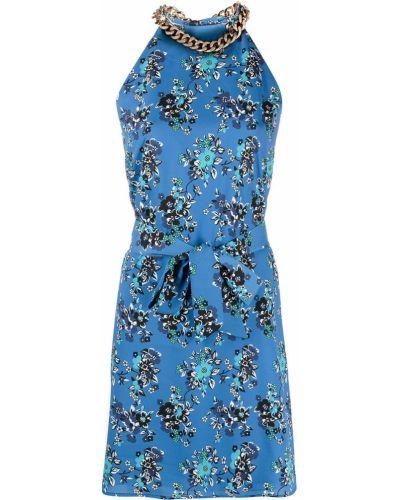 Синее платье трапеция в цветочный принт Pinko