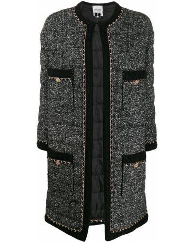 Прямой черный удлиненный пиджак с карманами Edward Achour Paris