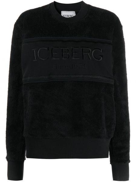 Хлопковая черная толстовка в рубчик с круглым вырезом Iceberg