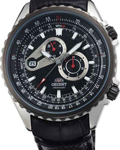 Часы механические с кожаным ремешком спортивные Orient