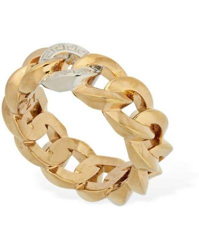 Кольцо золотое металлическое свободного кроя Versace