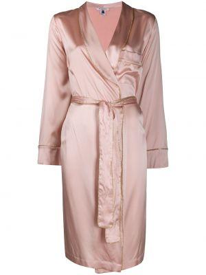 С рукавами розовый шелковый халат Gilda & Pearl