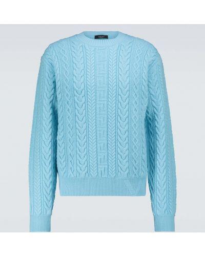 Niebieski sweter wełniany Versace