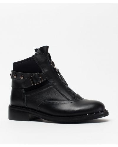 Кожаные ботинки черные кожаные Vensi