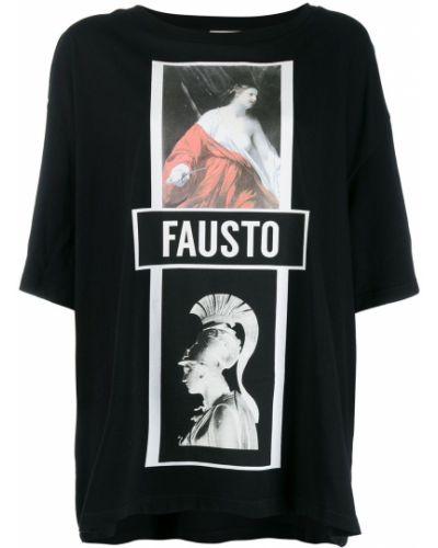 Футболка черная со спущенными плечами Fausto Puglisi