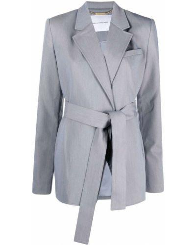 Льняной серый классический пиджак с лацканами Camilla And Marc