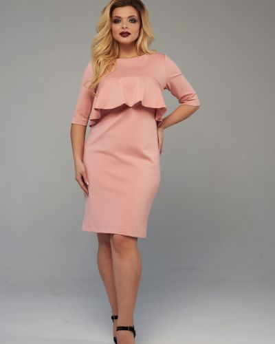 Теплое платье персиковое из вискозы Mari-line