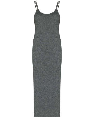 Трикотажное платье миди - серое Skin