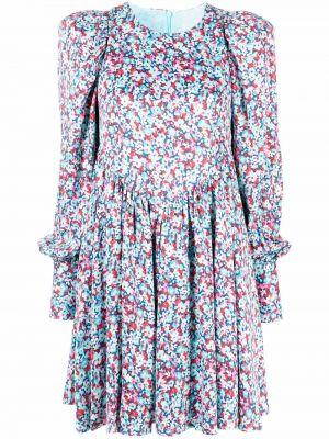 Платье миди с длинными рукавами - синее Rotate
