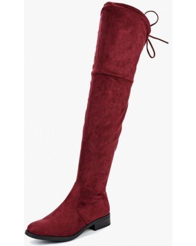 Ботфорты на каблуке красные бордовый Bellamica