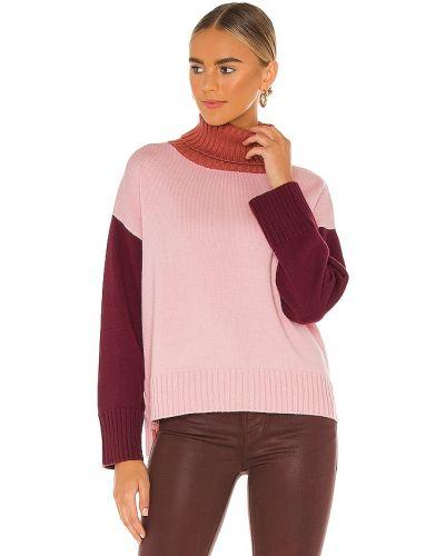 Prążkowany różowy długi sweter wełniany Michael Stars