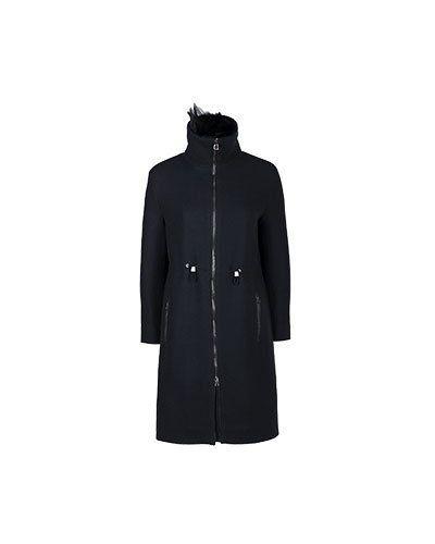 Черное пальто шерстяное Diego M