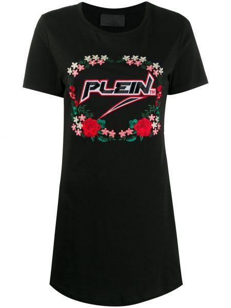 Платье мини футболка с цветочным принтом Philipp Plein