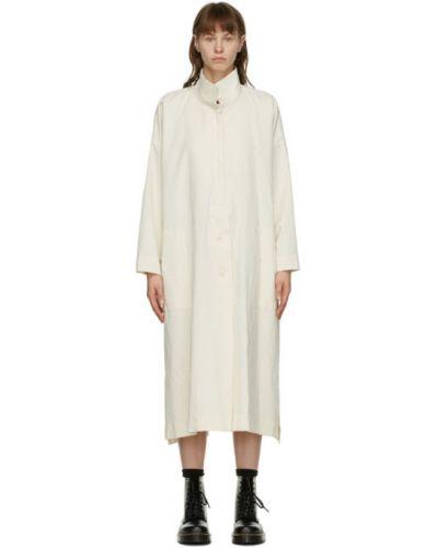 Льняное белое платье макси с длинными рукавами Issey Miyake