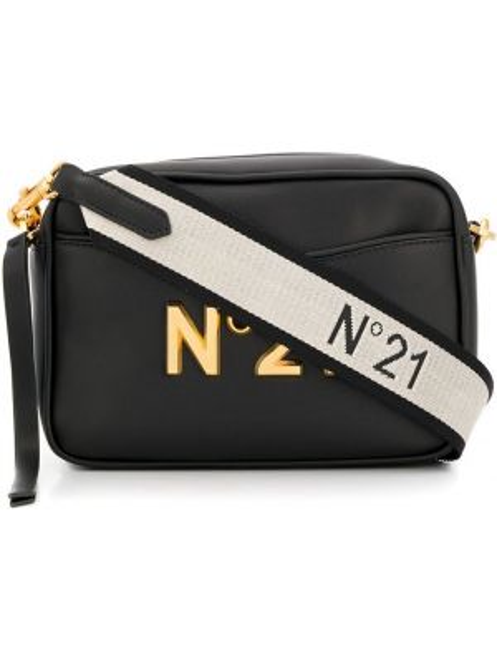 Черная сумка через плечо с пряжкой на молнии с карманами N°21