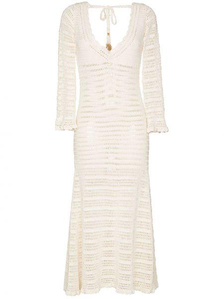 С рукавами белое платье миди с вырезом She Made Me
