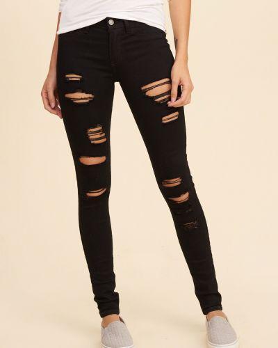 Облегающие зауженные джинсы - черные Hollister