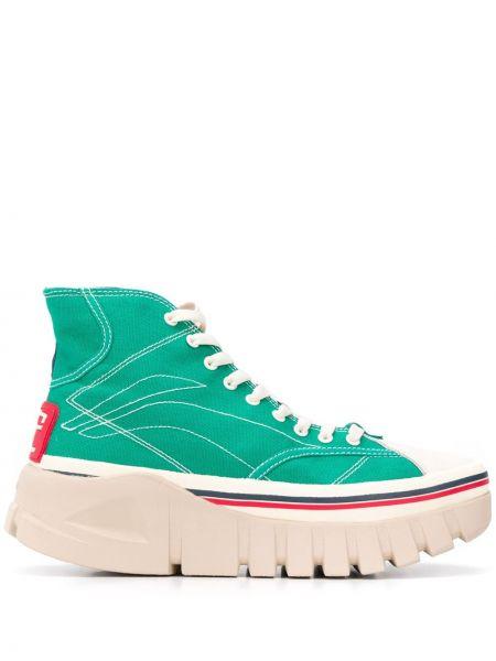 Wysoki sneakersy skórzane sznurowane Li-ning
