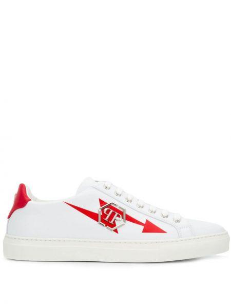 Skórzany biały skórzane sneakersy z łatami okrągły Philipp Plein