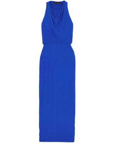 Шелковое синее платье макси с открытой спиной Versace
