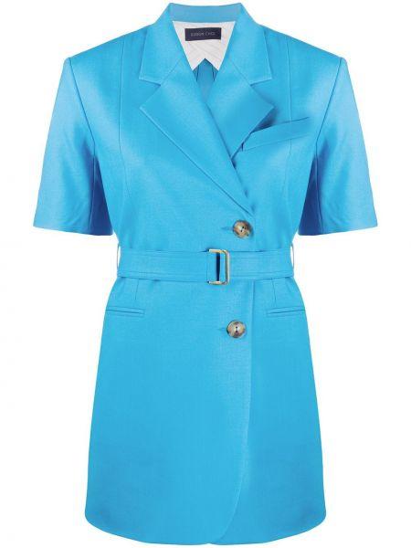 Шерстяной синий классический пиджак с карманами с лацканами Eudon Choi