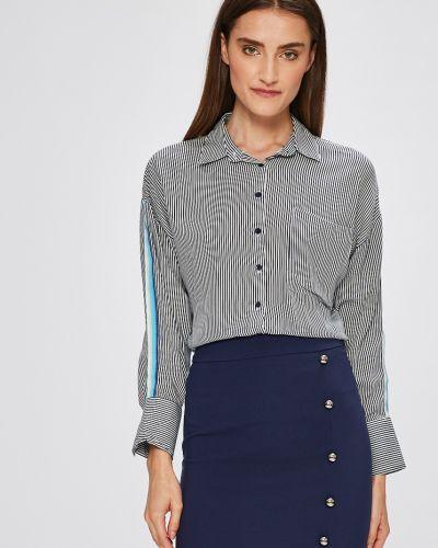 Темно-синяя блузка с манжетами Miss Poem