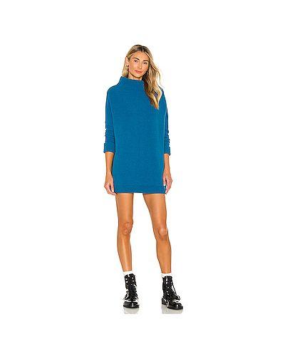Синее вязаное платье свободного кроя Free People