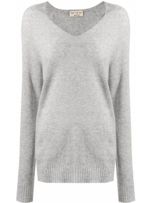 Серый шерстяной длинный свитер с V-образным вырезом Ma'ry'ya