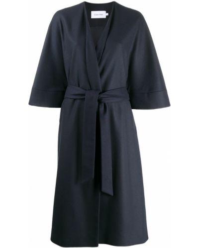 Однобортное синее пальто с капюшоном Calvin Klein