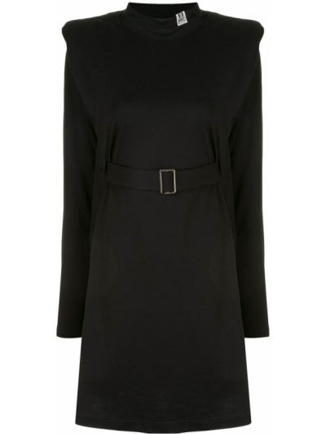 Черное расклешенное платье с вырезом круглое Maison Mihara Yasuhiro