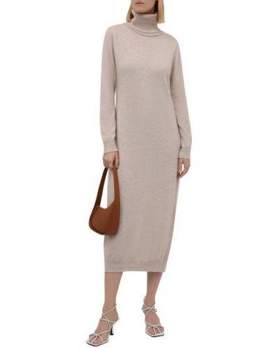Бежевое шерстяное платье Pietro Brunelli