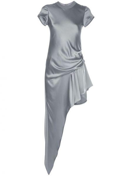Srebro bawełna jedwab asymetryczny sukienka mini Alexander Wang