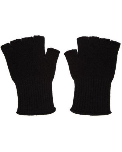 Kaszmir czarny rękawiczki z mankietami The Elder Statesman