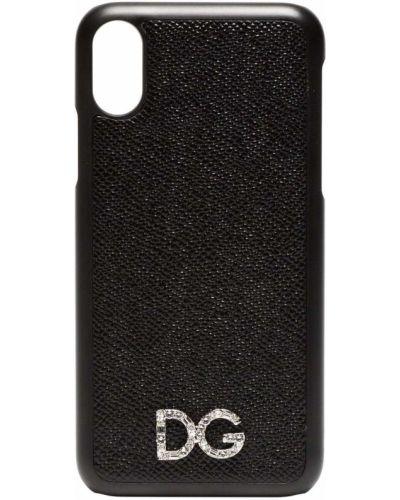 Черный кожаный футляр для очков Dolce & Gabbana