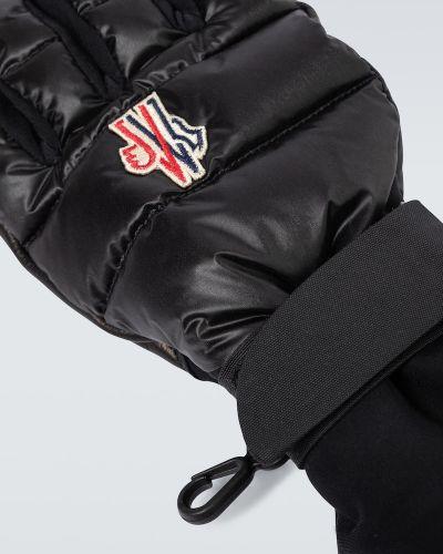 Ciepłe czarne rękawiczki skorzane Moncler Grenoble