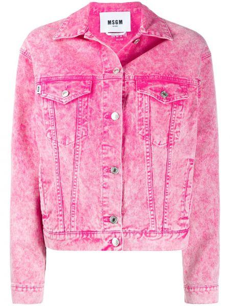 Джинсовая куртка розовая на пуговицах Msgm