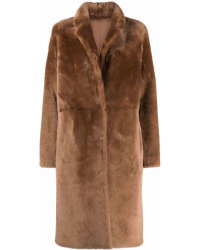 Коричневое пальто из овчины Yves Salomon