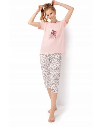 Piżama bawełniana krótki rękaw w kwiaty Envie