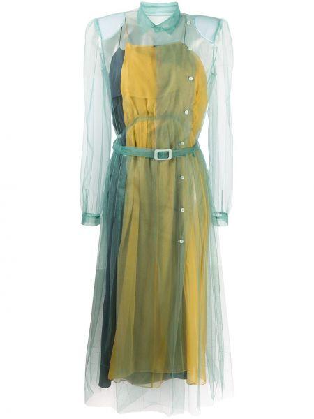 Шелковое платье миди - синее Maison Margiela
