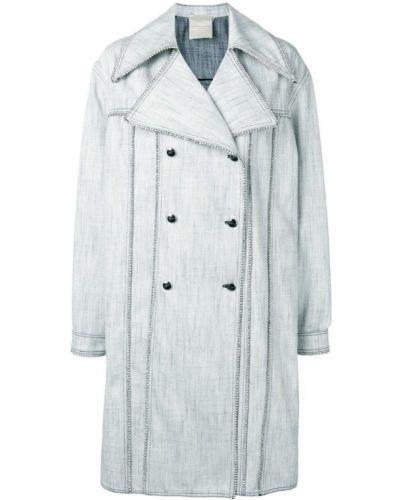Белое длинное пальто с капюшоном на пуговицах Marco De Vincenzo