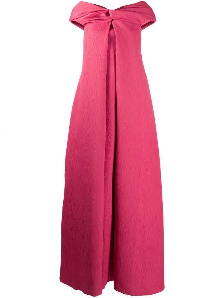Вечернее хлопковое розовое вечернее платье на молнии Emilia Wickstead
