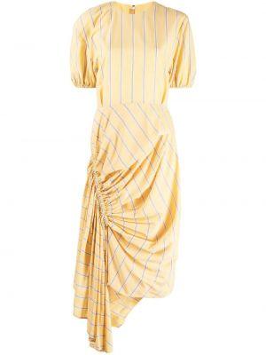 Sukienka mini rozkloszowana z falbanami w paski Pushbutton