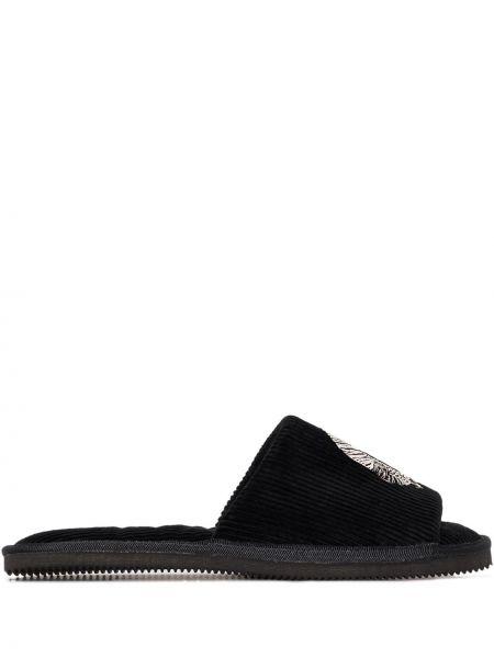 Черные слиперы без застежки с открытым носком Desmond & Dempsey
